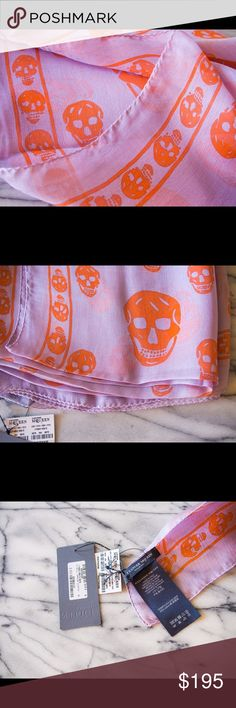 Alexander McQueen Lavender Orange Silk Scarf Brand new, purchased August 2016. From Alex McQueen store. Tags, receipt and packaging will be included Alexander McQueen Accessories Scarves & Wraps