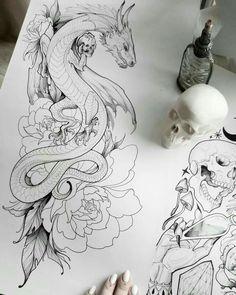 Oriental Dragon Tattoo, Chinese Dragon Tattoos, Cute Tattoos, New Tattoos, Small Tattoos, Wing Tattoos, Celtic Tattoos, Tattoo Sketches, Tattoo Drawings