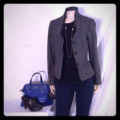 Ann Taylor loft charcoal and black tweed blazer Ann Taylor loft charcoal and black tweed blazer excellent condition no damage very savvy design fabric 38% wool 33% polyester 14% acrylic 9% silk 2% spandex 4% other fibers Ann Taylor Jackets & Coats Blazers
