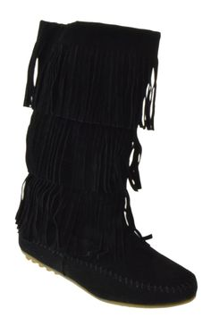 Chestnut Faux Suede Fringe Moccasin Calf Length Boots | bOOtS ...