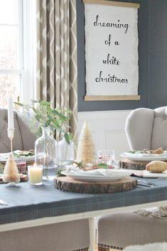 A row of birch-bark trees makes for a simple yet stunni … Christmas Makes, Cozy Christmas, Christmas Trimmings, Rustic Christmas, Christmas Stuff, White Christmas, Christmas Ideas, Outdoor Wood Furniture, City Farmhouse