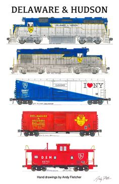 A Delaware & Hudson train. Hand drawings by Andy Fletcher