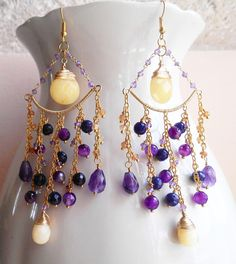 Orchidee earrings, long exquisite chandelier earrings, made with lovely amethyst faceted briolettes, honey jasper hand cut pear briolettes, honey jasper faceted drop briolettes and rich cascades of purple agate faceted beads, citrine faceted rondelles, amethyst faceted rondelles and