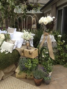 The repurposed outdoor bedroom....Expect the unexpected from Cottage White