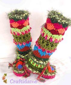 Botas multicolor en ganchillo