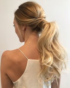 Ponytail for date night, bridesmaid or bride ideas! Bridesmaid Hair Up, Bridesmade Hair, Prom Hair, Wedding Hairstyles For Long Hair, Wedding Hair And Makeup, Hair Makeup, Ponytail Hairstyles, Bride Hairstyles, Bridal Hair Half Up Half Down