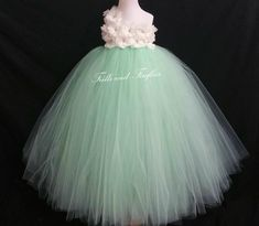 White or Ivory One Shoulder Flower Girl Dress with Mint Green Skirt-Classic Flowergirl Dress..OTHER COLORS, Size 1t, 2t, 3t, 4t, 5t, 6, 7, 8