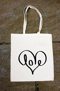 LOVE//Screen printed canvas shopping tote bag by KillingFugly