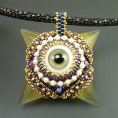 Yellow Fluorite Eye Mace Necklace by Laura McCabe