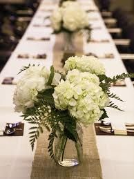 long table setting jar with flowers for wedding - Google Search