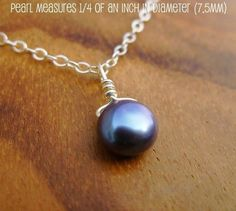 tiny freshwater pearl necklace from gomeagan on Etsy $18.50  #jewelry #blue #silver
