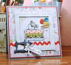 My last card this week is a birthday card for a friend. Can you tell she likes to sew?Here's a cute little sewing machine, some stitch...