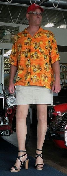 Instead of some boring bermuda shorts to your Hawaiian shirt, why not a nice, short skirt? Be prepared to wear heels, you really need that to a short skirt.