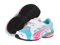 Puma Kids Voltaic 3 V (Toddler/Little Kid/Big Kid) Blue Atoll/Fluo Pink - 6pm.com
