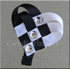 Black & White Woven Heart Hair Clip