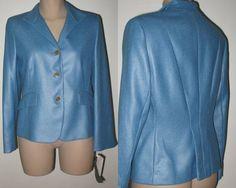 JONES NEW YORK Textured Suit Jacket Blazer 8P NWT - Blue #JonesNewYorkPETITES #BlazerSuitJacket