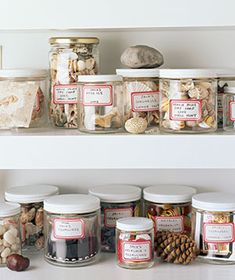 22 Ways to Arrange Your Shelves Ordinary items collected in glass jars make an arresting still-life. Rock Collection, Shell Collection, Nature Collection, Kid Spaces, Small Spaces, Real Simple, Displaying Collections, Organization Hacks, Organizing Solutions