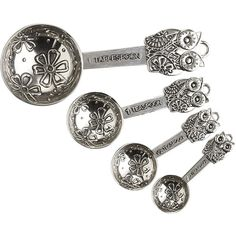 Pier 1 Imports Pewter Metal Owl Measuring Spoons Set found on Polyvore featuring polyvore, home, kitchen & dining, kitchen gadgets & tools, decor, kitchen, pewter, pier 1 imports and pewter measuring spoons