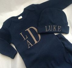 Baby Boys Coming Home Outfit, Navy and Tan Gown and Hat Set, Newborn Embroidered… Women, Men and Kids Outfit Ideas on our website at 7ootd.com #ootd #7ootd
