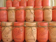 20 Mason Jars Ball jars Painted Mason Jars by TheShabbyChicWedding, $144.00 Choose colors! Teal, navy, burnt orange, light blue ♡♡