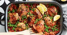 One pan, three steps and dinner's done with this easy Spanish-inspired chicken tray bake.