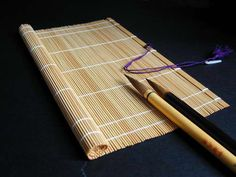 Fudemaki (bamboo mat) for holding calligraphy brushes (fude).