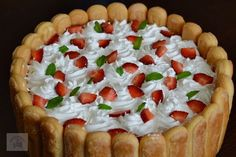 Tort diplomat cu capsuni Romanian Desserts, Romanian Food, Mousse, Frosting, Cheesecake, Dessert Recipes, Panna Cotta, Food And Drink, Sweets