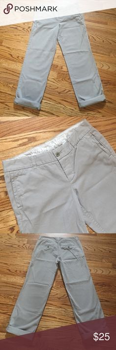 "J. crew broke in boyfriend khakis Great condition. Casual work khakis or to hang with friends on the weekend. Comfortable fit. Inseam with cuff 27"" inseam without cuff 30"". Rise 8.5"" 100%cotton J. Crew Pants Trousers"