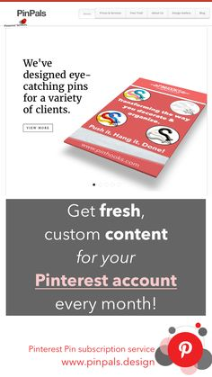 Get custom made pins for your brand, website, or business... every month! Pinterest pin subscription service. Amazing content, professionally designed at an affordable price. www.pinpals.design