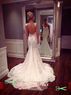 Maybe add little straps like this.....Lace Wedding dress Open Back Wedding Dress Boho by StunningDress