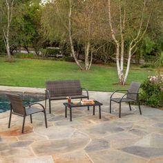 Patio Conversation Set 5 Piece Outdoor Garden Chairs Love Seat 4 Furniture Brown for sale online Cheap Patio Furniture, Garden Furniture Sets, Metal Furniture, Garden Seating, Garden Chairs, Relaxing Places, The Ordinary, Decks, Love Seat