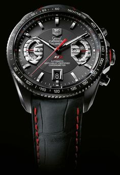 ♂ man's fashion accessories black watch with touch of red
