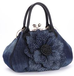 KAXIDY Ladies Girls Womens Denim Handbag Jean Bag Denim Shoulder Bag Shopper Satchel Messenger Tote Bags (Black): Handbags: Amazon.com