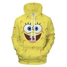 2018 Cute Series Sponge Toy Hoodie Printed Boy Girl Sport Style Hoodie Sweatshirt Couple Cute BOB Hoodies Men Plus Size Hoody Sweat Cool, Spongebob Cartoon, Spongebob Memes, Cartoon Outfits, Yellow Hoodie, 3d Prints, Cool Hoodies, Spongebob Squarepants, Kawaii