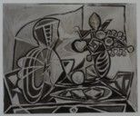 Mandolin and vase of flowers / Pablo Picasso