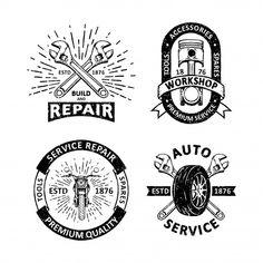 Set of vintage garage badges Premium Vector Retro Background, Background Patterns, Textured Background, Badge Design, Label Design, Garage Logo, Memphis Pattern, How To Age Paper, Free Vector Illustration
