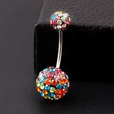 Colorful Crystal Ball Belly Button Ring - Stainless Steel for Pierced Naval Due to the demand for this popular item, please allow for extra shipping time.
