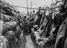 French soldiers in a front line trench probably somewhere on the Western Front during World War 1. Source: Source: University of Kentucky.