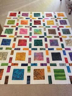 Framed quilt by Camille Roskelley done in batiks. Great Square Quilt Blocks to show off Fantastic Fabrics Batik Quilts, Jellyroll Quilts, Scrappy Quilts, Easy Quilts, Charm Pack Quilts, Charm Quilt, Quilting Projects, Quilting Designs, Quilting Ideas