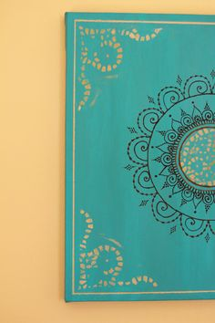 """Teal/Turquoise Mandala Henna Canvas 12 X 12 by PrincessAzmirelda, $36.20 + 25% off your purchase of 15 dollars or more! Please enter coupon code: """"MOTHERSDAY13"""" when checking out to receive the discount =) *Offer ends May 12th"""