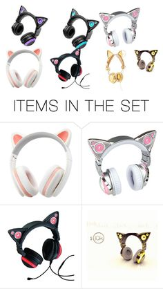 """Cat Ears Headphones"" by xxsacredwolfxx ❤ liked on Polyvore featuring art"