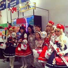 Harajuku girls came to visit our booth at #hellokittycon Thanks for the gifts! http://www.bedheadpjs.com/Hello-Kitty
