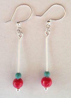 Sterling Coral/Turquoise Stick Earrings, silverbymaggie, drop earrings, dangle earrings, boho earrings, beaded earrings, boutique jewelry by SilverByMaggie on Etsy