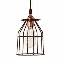 Minimalist Copper Cage Pendant With Wire Cage, Nostalgic Edison-Style 1910 Era Bulb