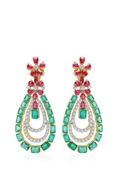 Farah Khan Zambian Emerald And Mozambique Ruby Drop Earrings by Farah Khan Fine Jewelry