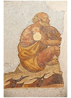 6th century Byzantine Roman mosaics of a man thinking, possibly a philospher, from the peristyle of the Great Palace from the reign of Emperor Justinian I.