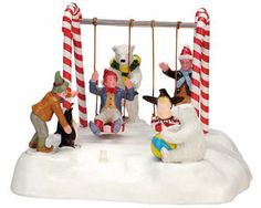 WANT: Lemax Elf and Penguin on Santa's Swing (Animated and Lighted)