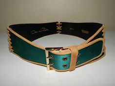 Oscar De La Renta Belt (Women's Pre-owned Teal Green Leather & Suede Laced Belts)