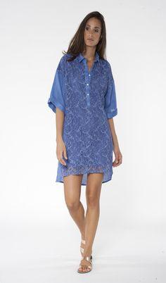 Linen & Lace shirt dress // 120%  Lino
