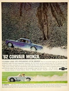 1962 Ad Vintage Chevrolet Corvair Monza Blue Automobile Corvette YMM5 - Period Paper